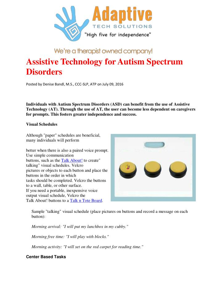 Assistive Technology for Autism Spectrum