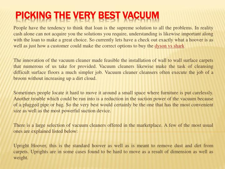 Picking the very best vacuum