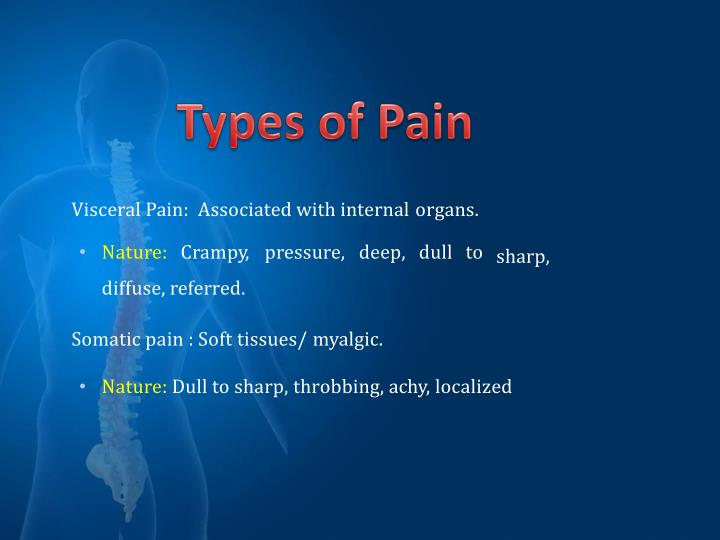 Visceral Pain:  Associated with internal organs.