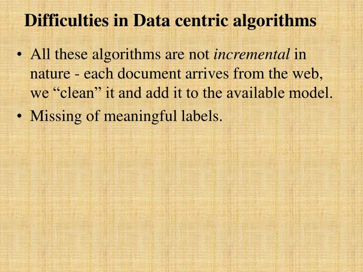 Difficulties in Data centric algorithms