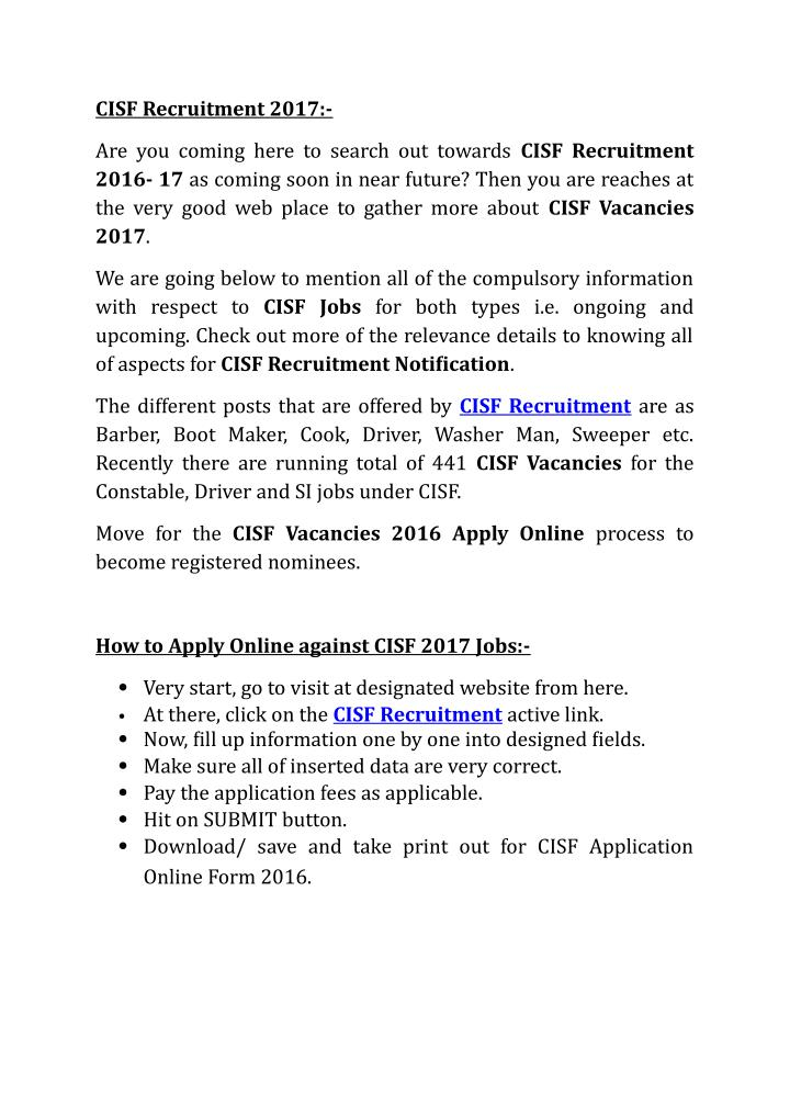 CISF Recruitment 2017:-