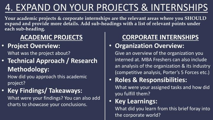 4. EXPAND ON YOUR PROJECTS & INTERNSHIPS