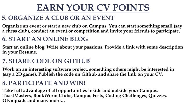 EARN YOUR CV POINTS