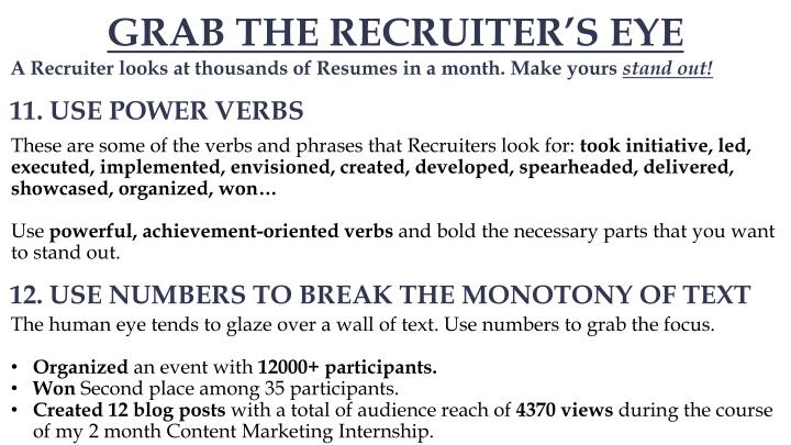 GRAB THE RECRUITER'S EYE