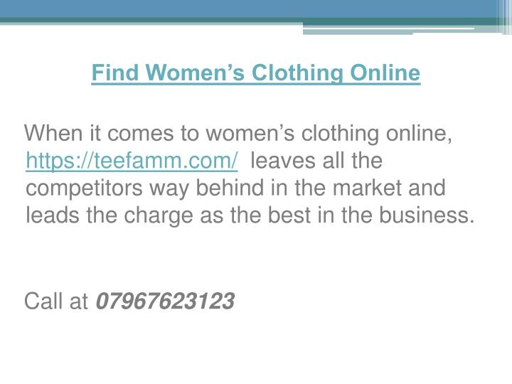 Find Women's Clothing Online