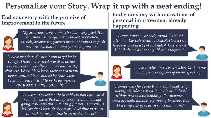 Personalize your Story. Wrap it up with a neat ending!