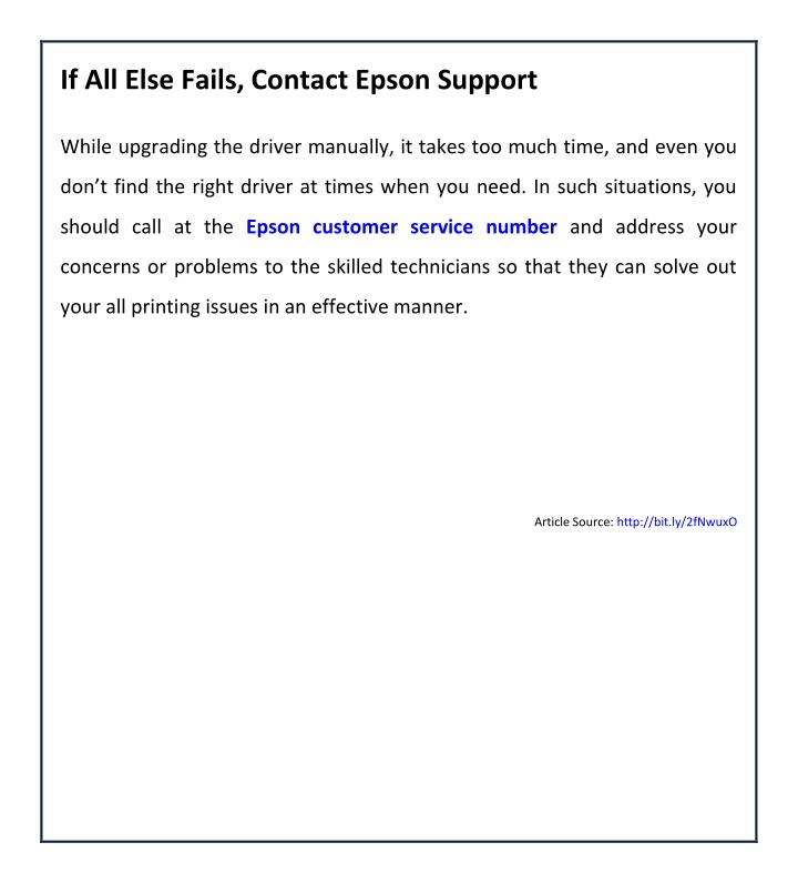 If All Else Fails, Contact Epson Support