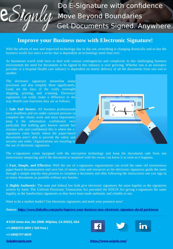 Improve your Business now with Electronic Signature!