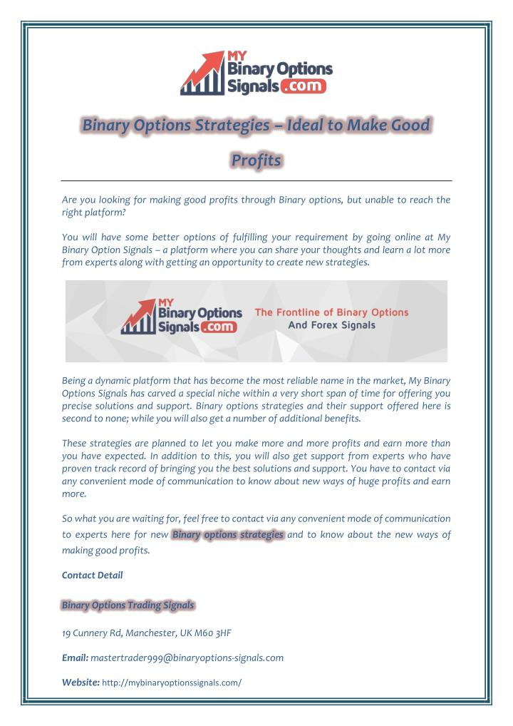Binary Options Strategies – Ideal to Make Good