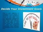 decide your investment goals