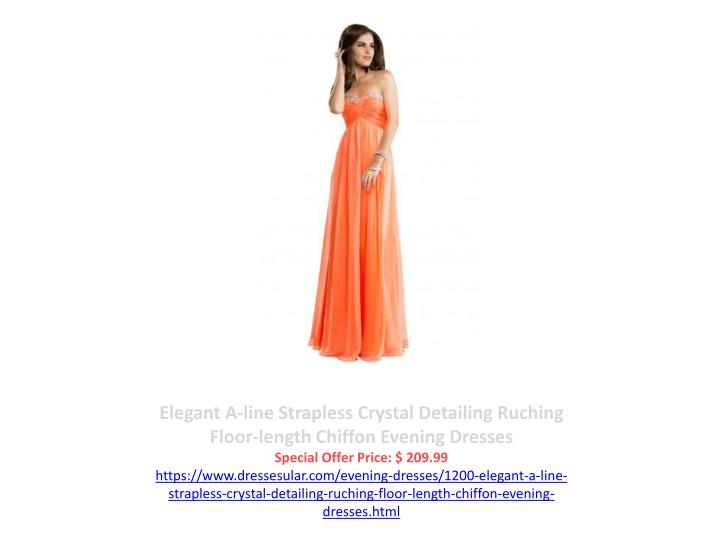 Elegant A-line Strapless Crystal Detailing Ruching Floor-length Chiffon Evening Dresses