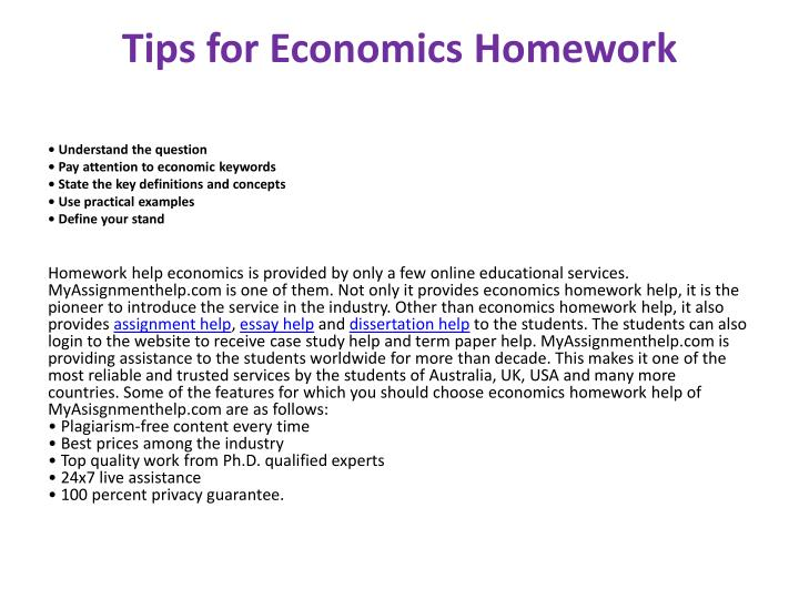 Tips for Economics Homework
