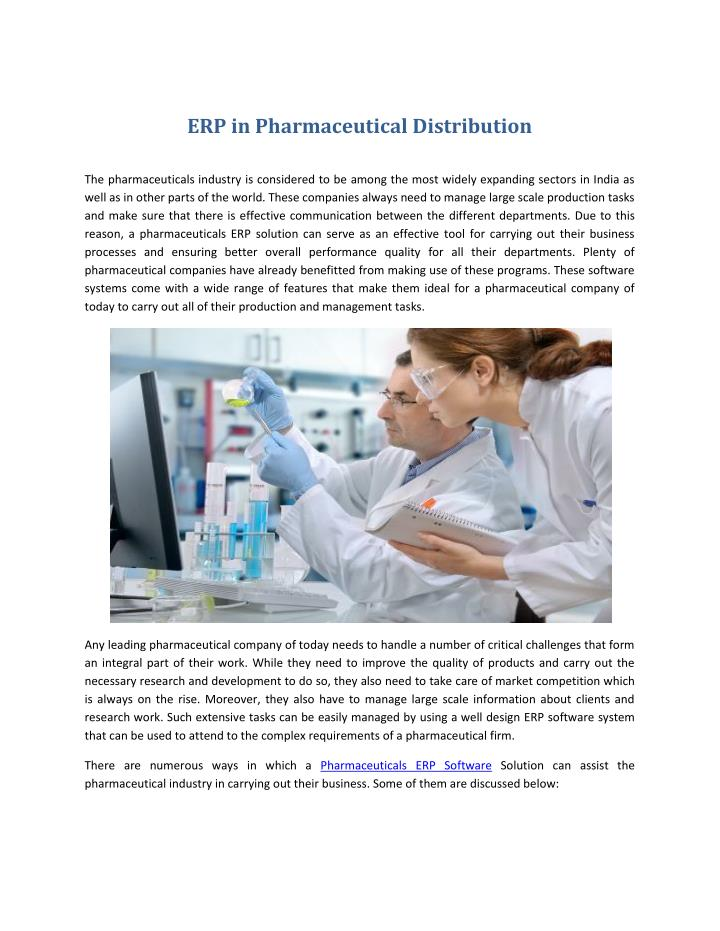 ERP in Pharmaceutical Distribution