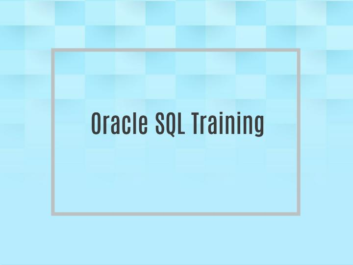 Oracle SQL Training
