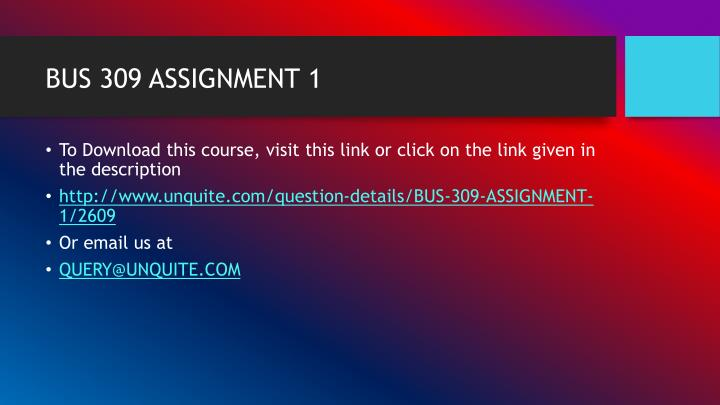 Bus 309 assignment 11