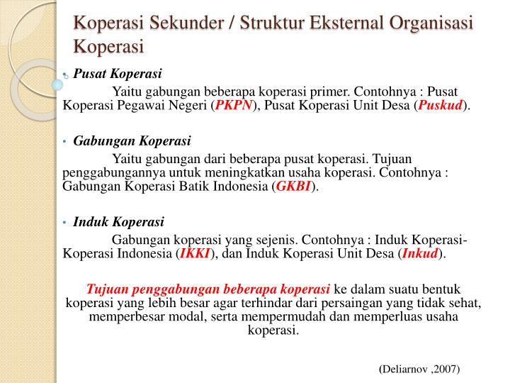 Koperasi Sekunder / Struktur Eksternal Organisasi Koperasi