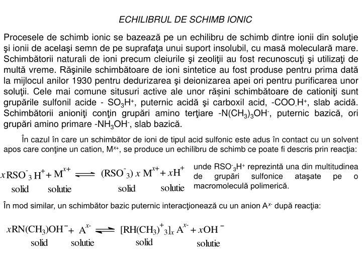 ECHILIBRUL DE SCHIMB IONIC