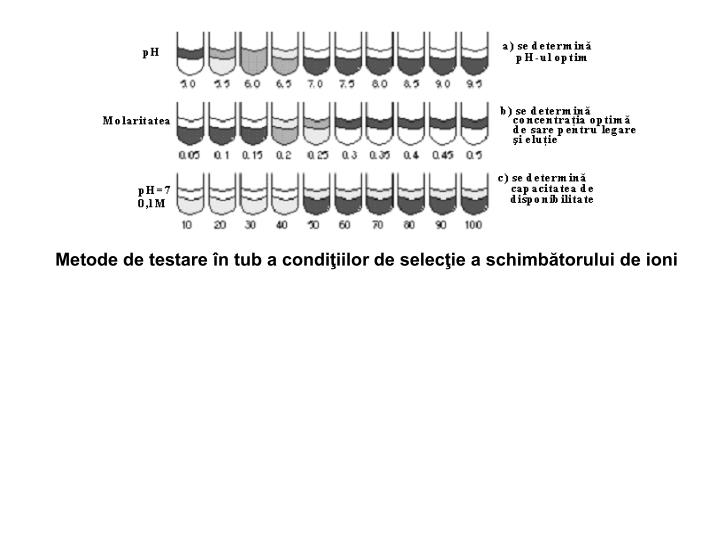 Metode de testare în tub a condiţiilor de selecţie a schimbătorului de ioni