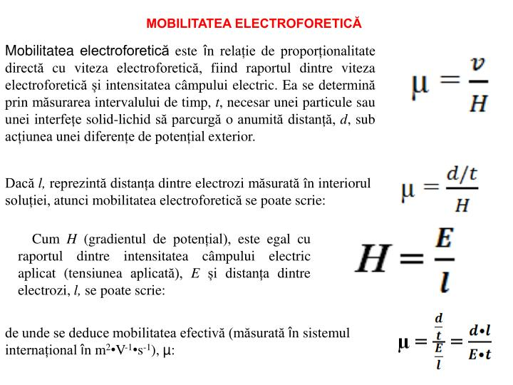 MOBILITATEA ELECTROFORETICĂ