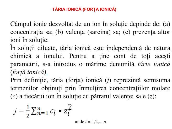 TĂRIA IONICĂ (FORȚA IONICĂ)