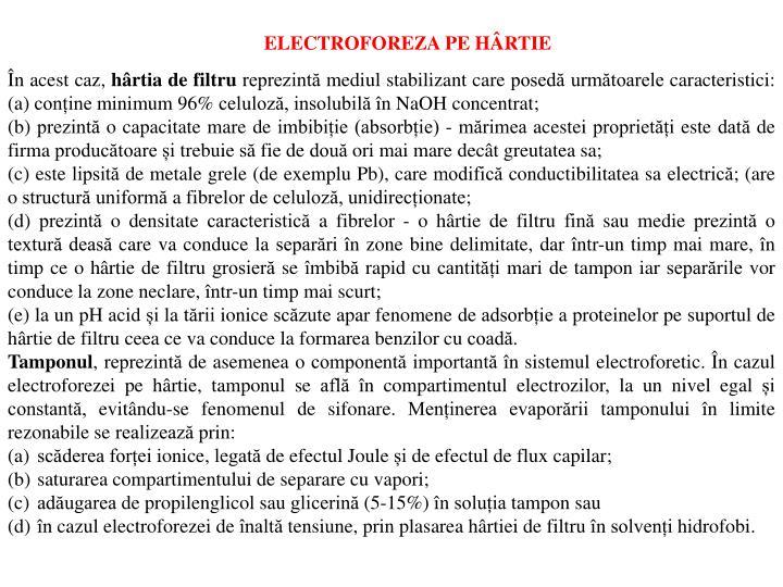 ELECTROFOREZA PE HÂRTIE