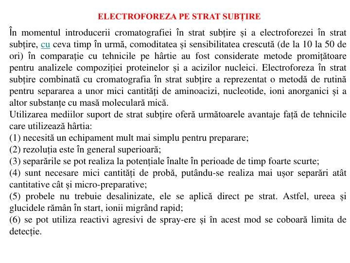 ELECTROFOREZA PE STRAT SUBȚIRE
