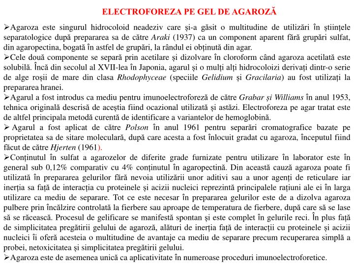 ELECTROFOREZA PE GEL DE AGAROZĂ