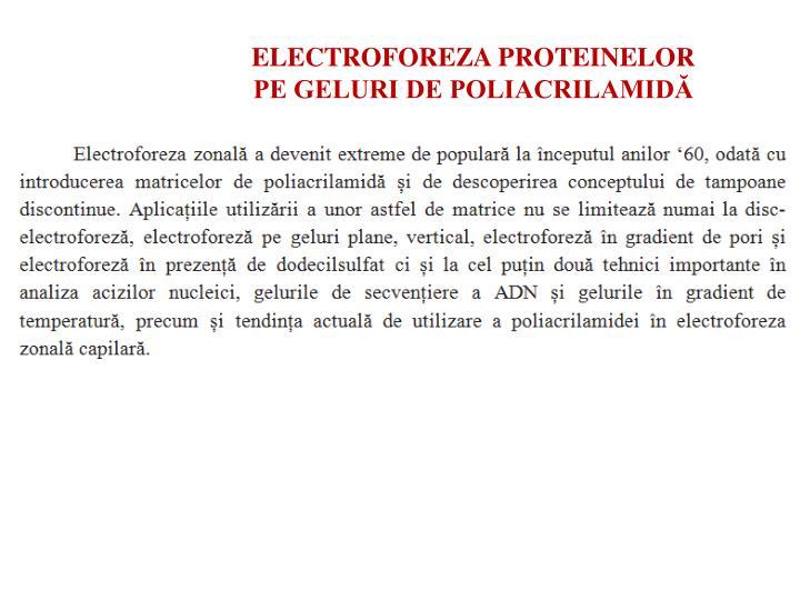 ELECTROFOREZA PROTEINELOR