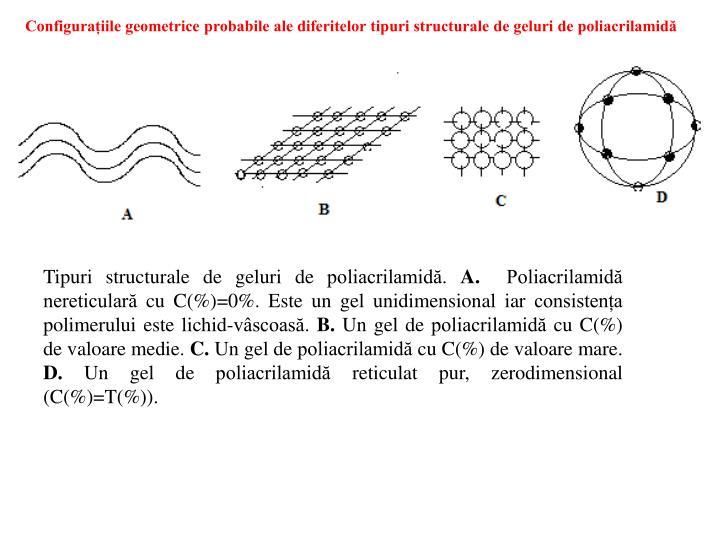 Configurațiile geometrice probabile ale diferitelor tipuri structurale de geluri de poliacrilamidă