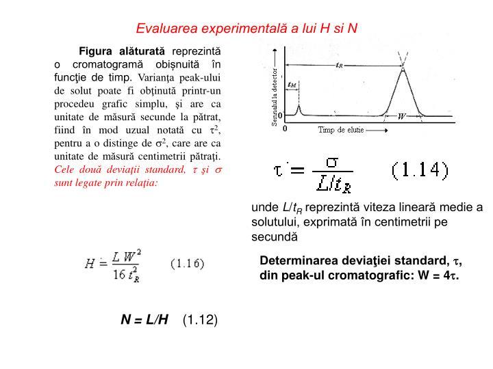 Evaluarea experimentală a lui H şi N