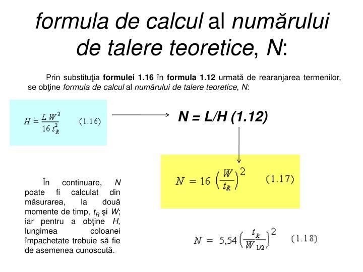 formula de calcul
