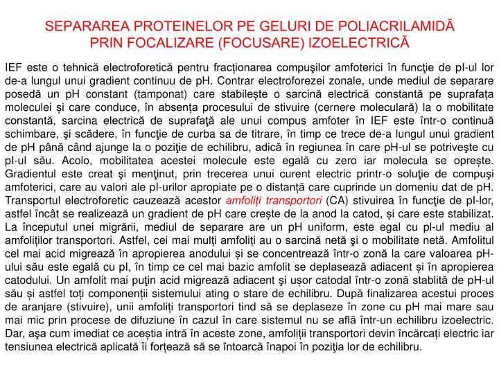 SEPARAREA PROTEINELOR PE GELURI DE POLIACRILAMIDĂ
