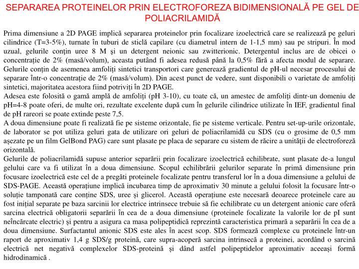 SEPARAREA PROTEINELOR PRIN ELECTROFOREZA BIDIMENSIONALĂ PE GEL D