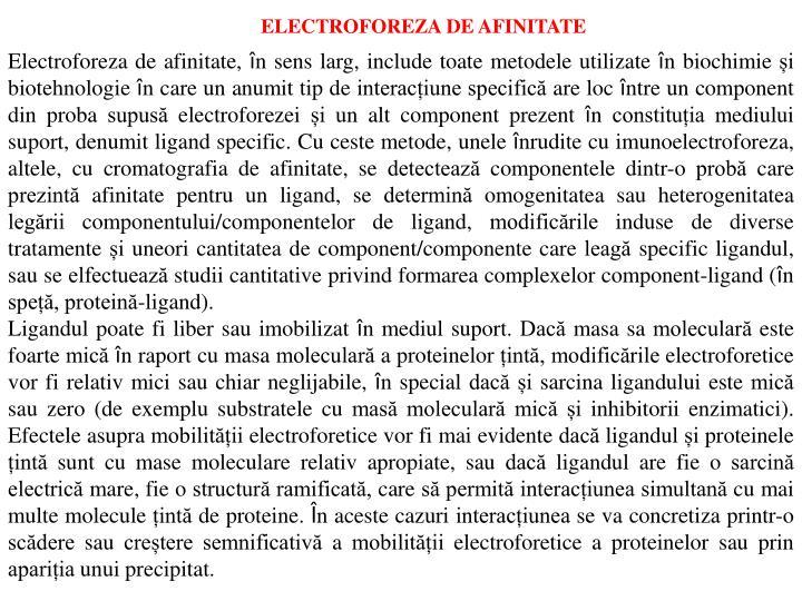 ELECTROFOREZA DE AFINITATE