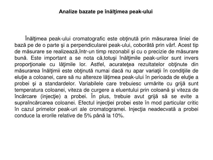 Analize bazate pe înălţimea peak