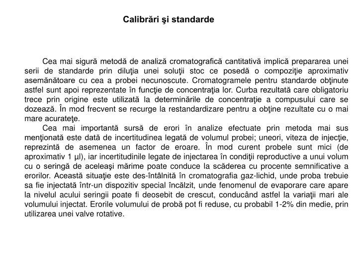 Calibrări şi standarde
