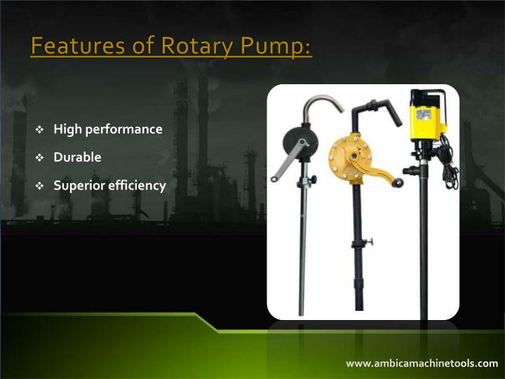 Features of Rotary Pump: