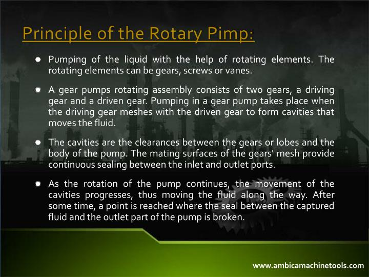 Principle of the rotary pimp
