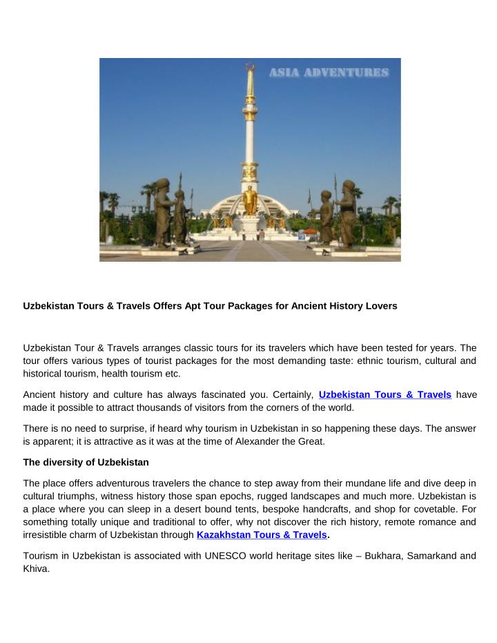 Uzbekistan Tours & Travels Offers Apt Tour Packages for Ancient History Lovers