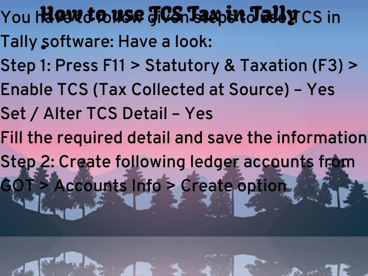 How to use TCS Tax in Tally