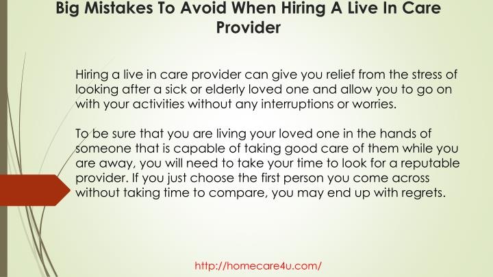 Hiring a live in care provider can give you relief from the stress of looking after a sick or elderly loved one and allow you to go on with your activities without any interruptions or worries.