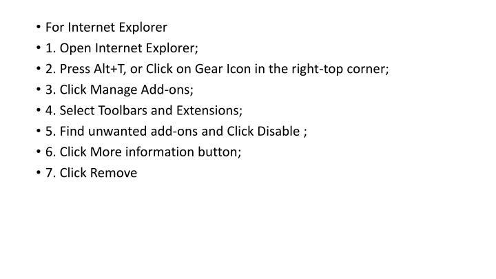 For Internet Explorer