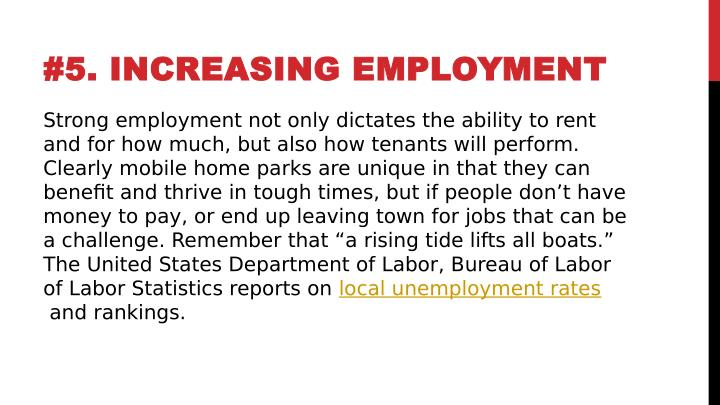 #5. INCREASING EMPLOYMENT