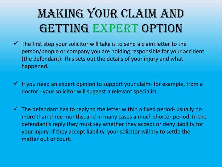 Making your claim and getting
