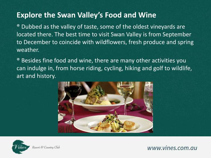 Explore the Swan Valley's Food and Wine