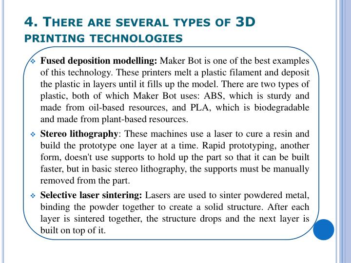 4. There are several types of 3D printing technologies