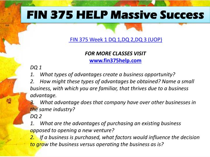 FIN 375 HELP Massive Success