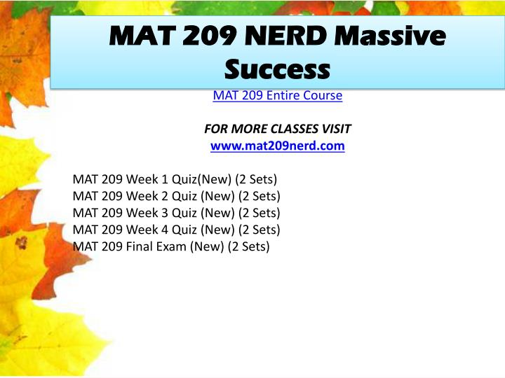 MAT 209 NERD Massive Success