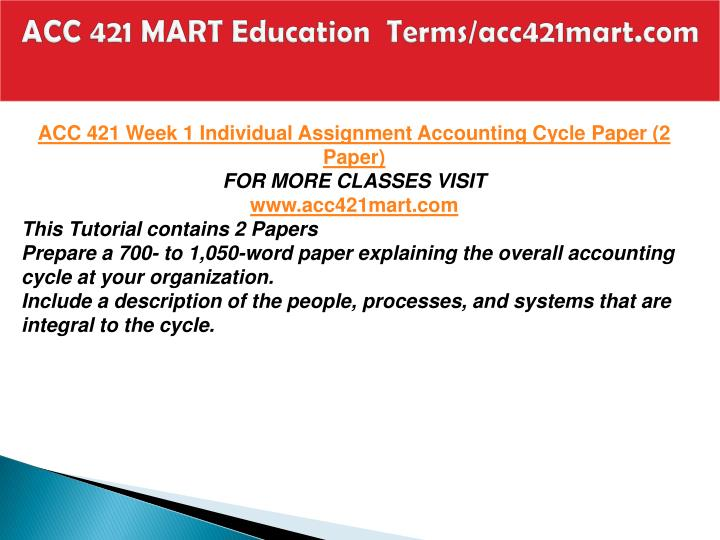 ACC 421 MART Education  Terms/acc421mart.com