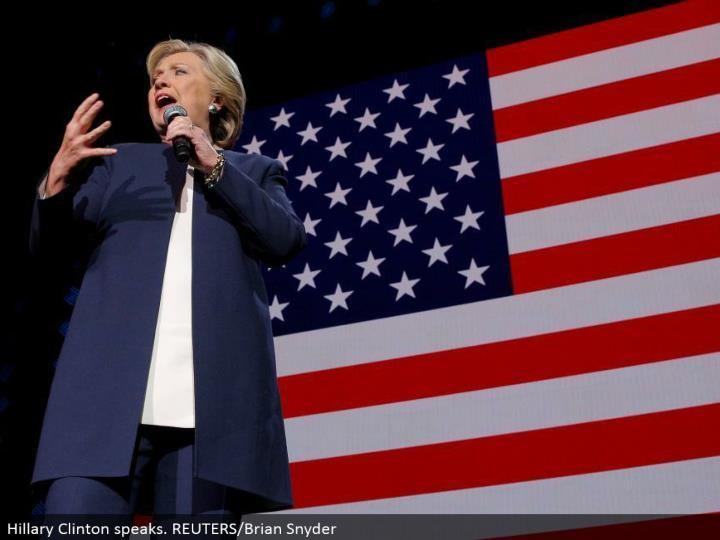 Hillary Clinton talks. REUTERS/Brian Snyder